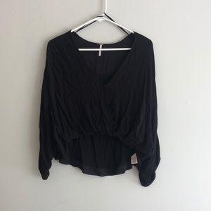 Free People Black V neck blouse